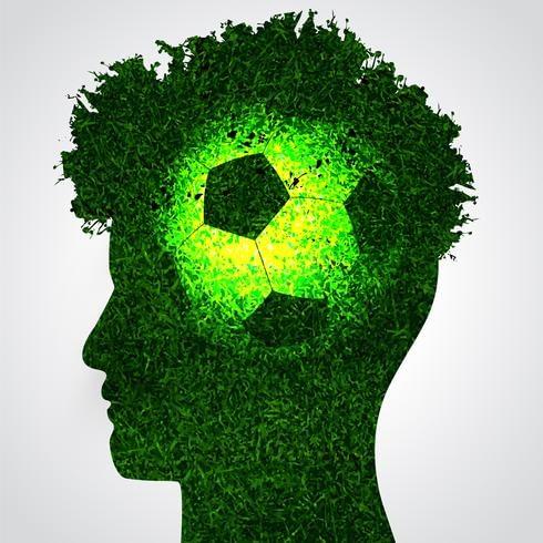 Illustration of soccer ball inside silhouette of male head